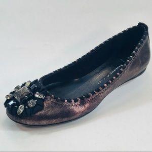 Etienne Aigner Dark Bronze Ballet Flats